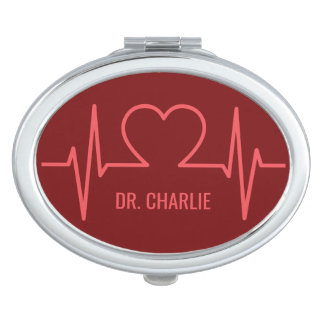 Heart EKG custom name & occupation pocket mirror Compact Mirror