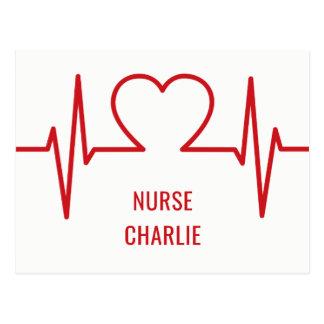 Heart EKG custom name & occupation postcard