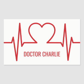 Heart EKG custom name & occupation stickers