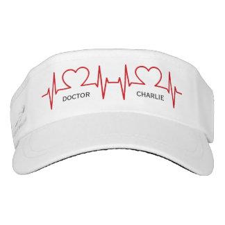 Heart EKG custom name & occupation visor