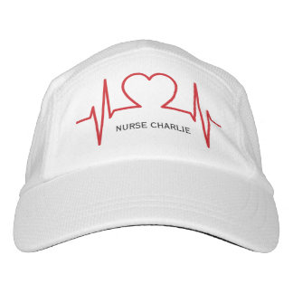 Heart EKG custom name & text hats