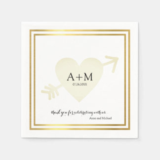 heart elegant wedding celebration reception disposable napkins