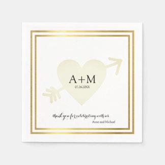 heart elegant wedding celebration reception paper napkin