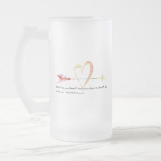 Heart Emerson Quote Frosted Glass Beer Mug