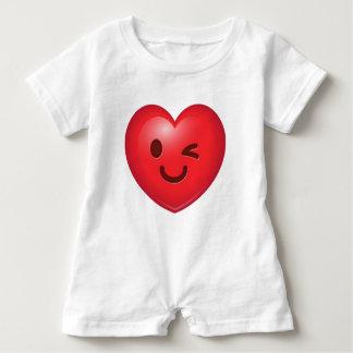 Heart Emoji Winking Baby Romper