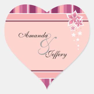 Heart Envelope Seal | Pink Floral Lines Heart Sticker