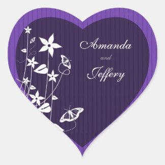 Heart Envelope Seal | Purple Flower Butterfly