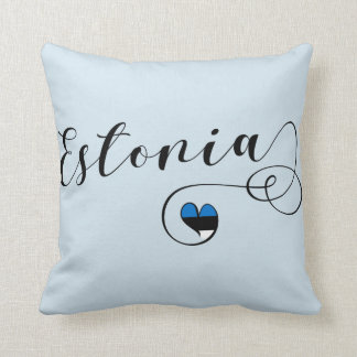 Heart Estonia Pillow, Estonian Flag Throw Pillow