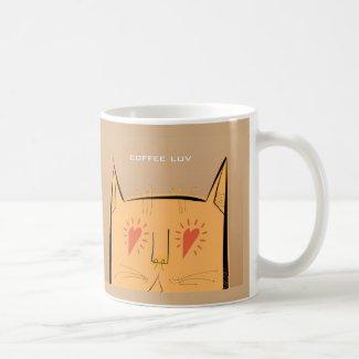 Heart eyes coffee luv cat mug