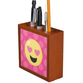 Heart Eyes Emoji Polka Dots Desk Organizer