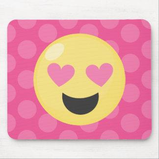 Heart Eyes Emoji Polka Dots Mouse Pad
