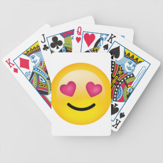 heart eyes smiley face bicycle playing cards