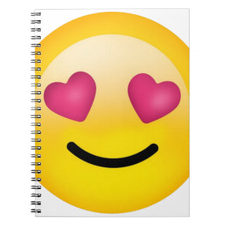 heart eyes smiley face notebook