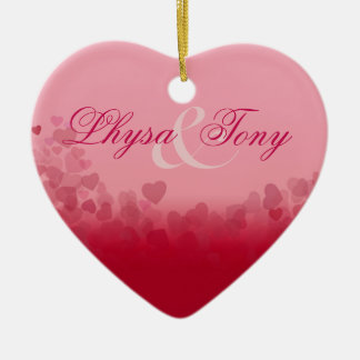 Heart Festival Valentine Love Newlyweds Couples Ceramic Ornament