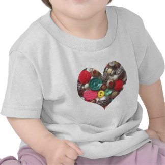 Heart Filled with Red and Green Buttons T Shirt