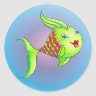 HEART FISH by SHARON SHARPE Classic Round Sticker