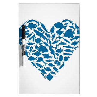 Heart fish dry erase boards