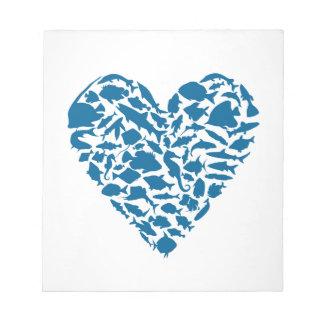 Heart fish notepad