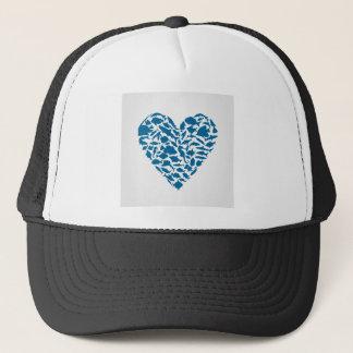 Heart fish trucker hat