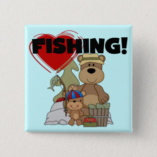 HEART Fishing Tshirts and Gifts 2 Inch Square Button