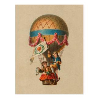 Heart Flag Hot Air Balloon Postcard