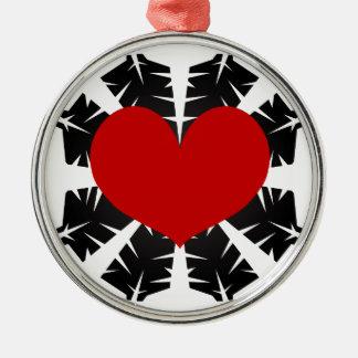 Heart Flake VII Silver-Colored Round Ornament