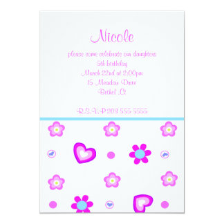heart floral birthday invitation