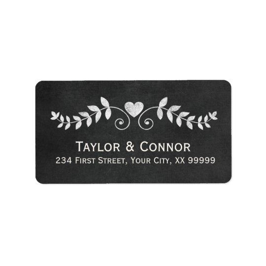 Heart Floral Love Chalkboard Wedding Label