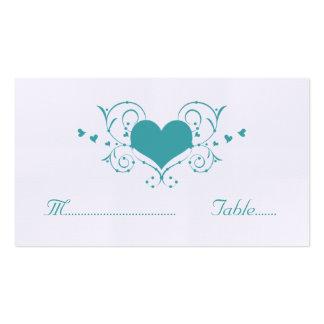 Heart Flourish Place Card, Teal Business Card Templates