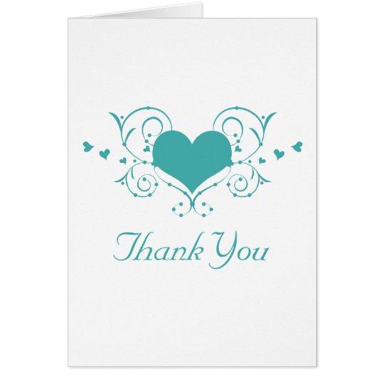 Heart Flourish Thank You Card, Teal Card