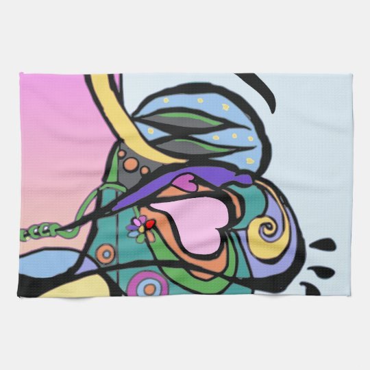 Heart flow Modern art Hand Towels