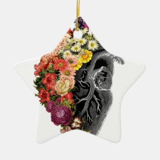Heart Flower Hugs Ceramic Ornament