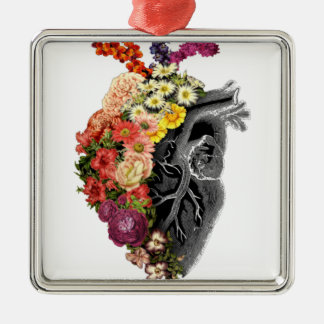 Heart Flower Hugs Metal Ornament