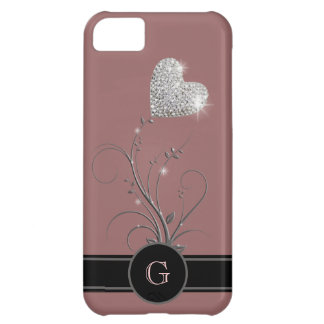 heart flower to add name initial cover for iPhone 5C