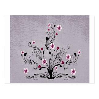 heart flower tree design art post card