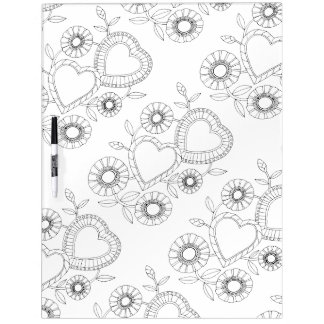Heart Flowers Adult Coloring Dry-Erase Whiteboards