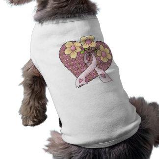 Heart & Flowers Breast Cancer Awareness Dog Shirt