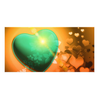 Heart Fractal Romantic Playful Love Orange Teal Photo Cards