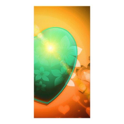 Heart Fractal Romantic Playful Love Orange Teal Customized Photo Card