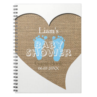 Heart Frame Burlap Boy Baby Shower Guest Book