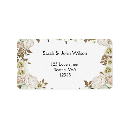 Heart Frame Greenery Roses Wedding Label