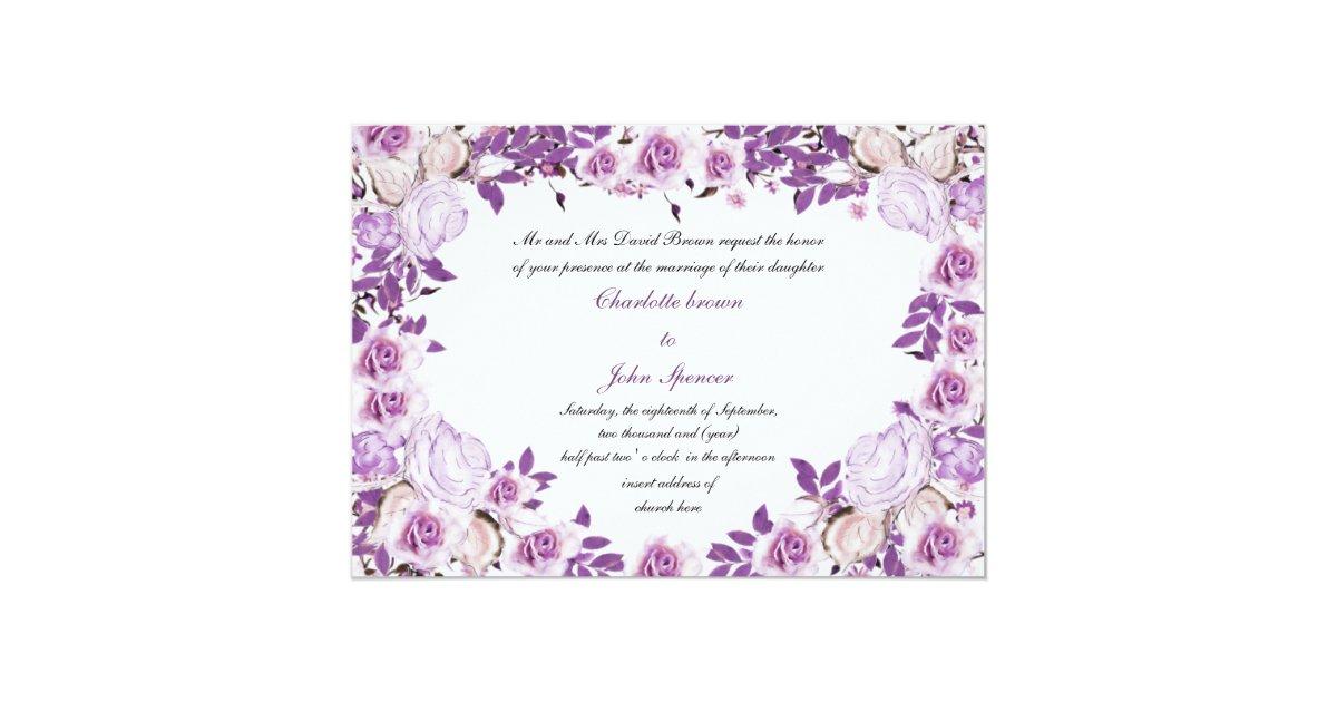 Purple Rose Wedding Invitations: Heart Frame Purple Lavender Roses Wedding Invitation