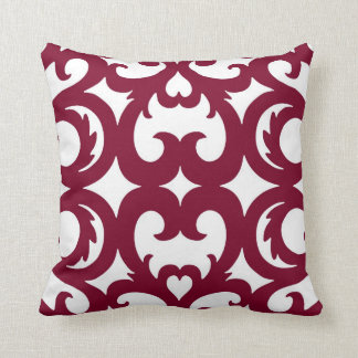 Heart Fretwork Scroll Pattern Cranberry Red Throw Pillow