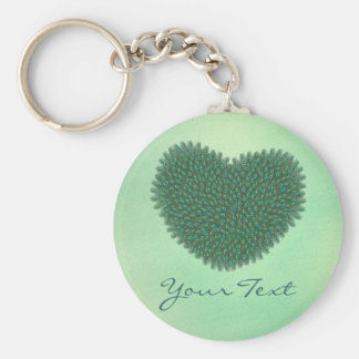 Heart from peacock feathers keychain