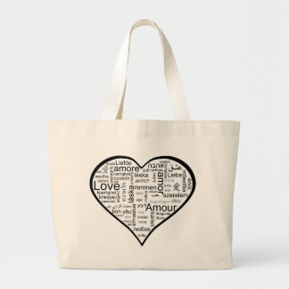 Heart full of Love in Different Languages Jumbo Tote Bag