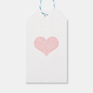 Heart - geometric  pattern - pink and white. gift tags