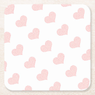 Heart - geometric  pattern - pink and white. square paper coaster
