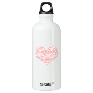 Heart - geometric  pattern - pink and white. water bottle