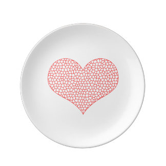 Heart - geometric  pattern - red and white. plate