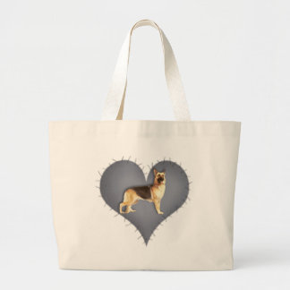 Heart German Shepherd Large Tote Bag